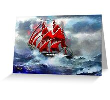 Clipper Ship Indian Queen in Rough Seas (2) - all products Greeting Card