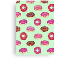 Delicious Donuts - on mint green  Canvas Print