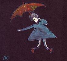Girl with a brolly by sword