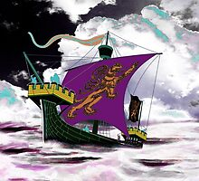 A 13th century English Fighting Ship, the Cog - all products bar duvet by Dennis Melling