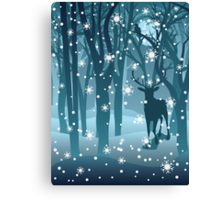 Stag in Winter Forest 2 Canvas Print