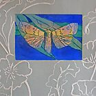 Drypoint and linocut - Moth by Marion Chapman
