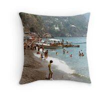 Lady on a beach in Positano, Italy Throw Pillow