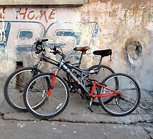 Pair of Bicycles on the Street in Rishikesh by JJQAD
