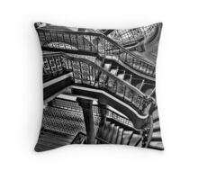 Old Style Workmanship  (Monochrome Version) - The Grand Staircase, Queen Victoria Building - The HDR Experience Throw Pillow