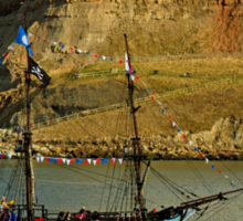 Bark Endeavour Passing Whitby East Cliff Sticker