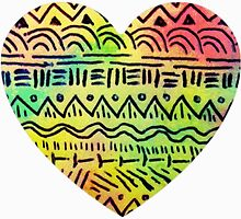 colorful tribal heart by lilaferraro