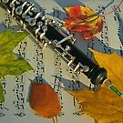 Sunlit Oboe and Sheet Music in Autumn by Anna Lisa Yoder