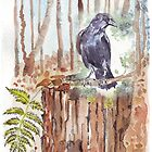 Crow loves the forest by Maree  Clarkson