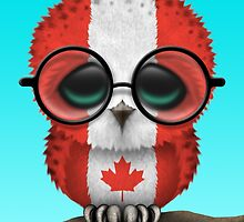 Nerdy Canadian Baby Owl on a Branch by Jeff Bartels