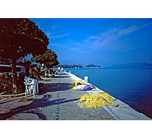 Seafront with Yellow Nets, Island of Hydra, Greece Photographic Print