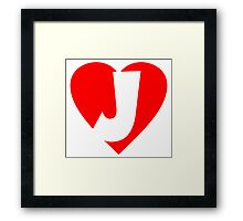 I love J - Heart J - Heart with letter J Framed Print