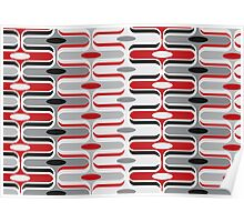 Retro Curves Red and Black Pattern Poster