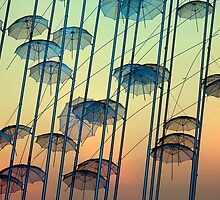 Umbrellas sculpture by portokalis