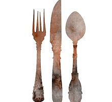 Cutlery abstract silhouette large poster by Joanna Szmerdt