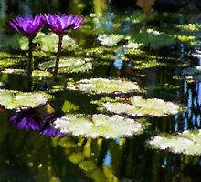 Waterlilies - Sunny Green and Purple Impressions by Georgia Mizuleva