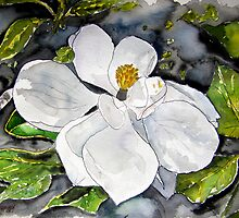 Magnolia Tree flower painting by derekmccrea