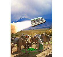 Balochistan Hover Van blasts off past the Vilo Snail Robocamel Caravan Photographic Print