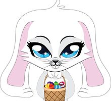 White bunny with Easter eggs by AnnArtshock