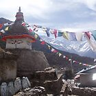 Prayer Flags, Mani Stones and a Chortens. by Louise Levy