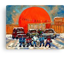 HOCKEY GAME AT THE ORANGE JULEP MONTREAL STREET SCENE PAINTING Canvas Print