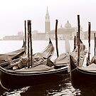Sepia Gondolas by DavidROMAN