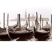 Sepia Gondolas Photographic Print