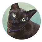 Black Burmese Cat Moose - Round by artbyakiko