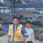 Children of Thame Village Khumbu Nepal by Louise Levy