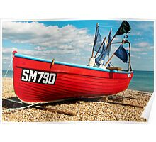 Lonely fishing boat on the pebble beach Poster
