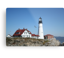Portland Head Light House with seagull Metal Print