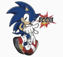 Sonic the boom hedgehog - on black Kids Clothes
