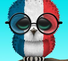 Nerdy French Baby Owl on a Branch by Jeff Bartels