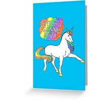 Haters gonna hate unicorn (blue background) Greeting Card