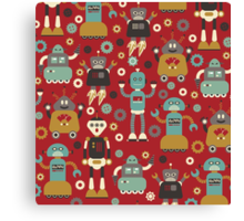 Retro Robots on Red Canvas Print