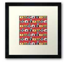Colorful Toy Cameras Pattern Framed Print