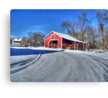 Snow On A Country Road Canvas Print
