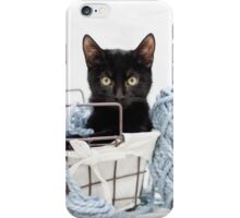 Kitten in Yarn Basket iPhone Case/Skin