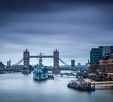 Tower Bridge and HMS Belfast by Vincent Sluiter