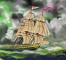 HMS Boreas, captain Horatio Nelson, in Stormy Weather - all products except duvet by Dennis Melling