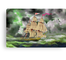 HMS Boreas, captain Horatio Nelson, in Stormy Weather - all products except duvet Canvas Print