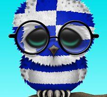 Nerdy Greek Baby Owl on a Branch by Jeff Bartels