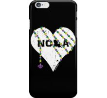 NOLA Heart Wrapped in Mardi Gras Beads (white) iPhone Case/Skin
