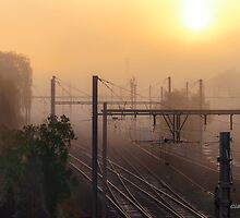 Misty weather on the railways by numgallery