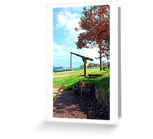 Old fountain under the plum tree | landscape photography Greeting Card
