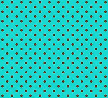 Turquoise and Brown Polka Dot Spot Pattern by TigerLynx