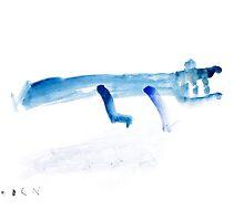 Abstract blue crocodile art print watercolor painting by Joanna Szmerdt