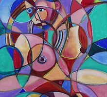 Female Nude Circular Composition #1 (Oils)- by Robert Dye
