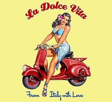 Vespa Girl - La Dolce Vita  by Everett Day