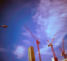 Lo-fi Cranes Over Manchester by Phil Gribbon